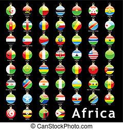 africano, natal, bandeiras, bulbos