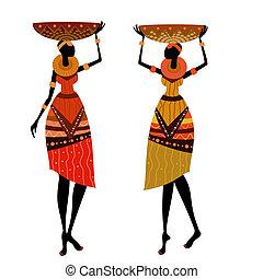 africano, nativo, mujeres