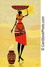 africano, nativo, mulheres