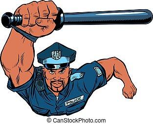 africano, oficial, batuta, polícia