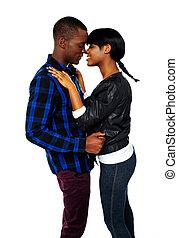 africano, par jovem, deeply, apaixonadas