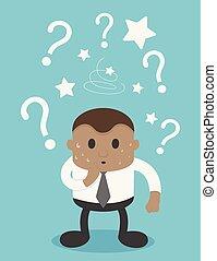 africano, pergunta, confundido, picture., homens negócios, ter, marcas