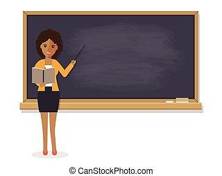africano, profesor, enseñanza, en, aula