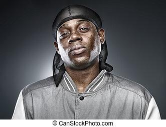 africano, rapper, ligado, cinzento, fundo, com, arrojado,...