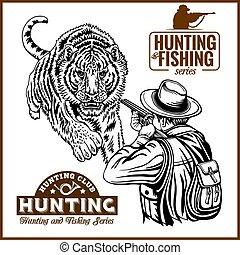 africano, safari, caza, retro, cartel