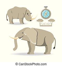 africano, safari, desenho