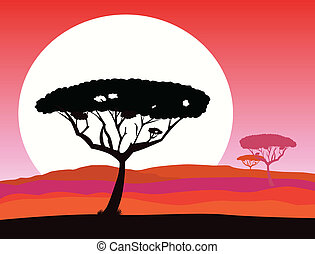 africano, safari, fundo