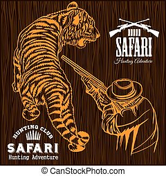 africano, safari, -, tigre, caza, retro, cartel