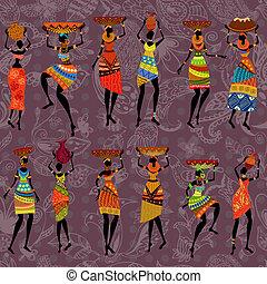 africano, seamless, fundo, mulheres