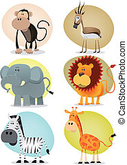 africano, selva, animales, colección