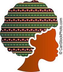 africano, silhouette, donna, isolato, americano, profilo, icona, faccia