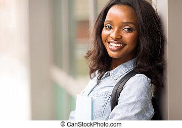 africano, studente università, con, libri