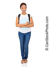 africano, studente università, standing