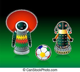 africano, sud, bambole