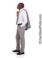 africano, uomo affari, suo, tenere cappotto