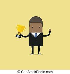 africano, uomo affari, trophy., presa a terra, vincente