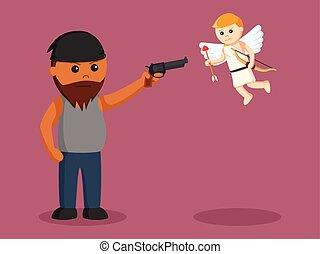 africano, uomo grasso, punteria, fucile, a, cupido