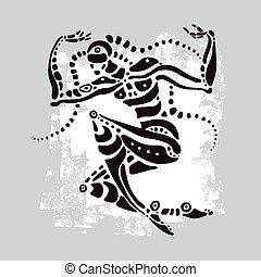 africano, vetorial, illustration., dancer., étnico