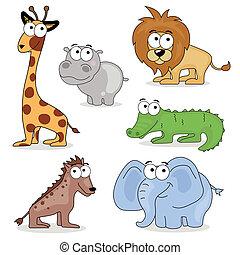 africano, vettore, animali