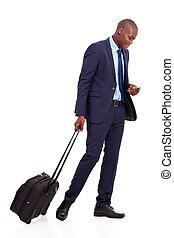 africano, viajante, negócio americano