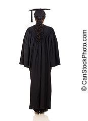 africano, vista, costas, femininas, graduado