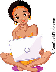 africano, womanwith, laptop