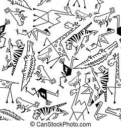 africano, y, selva, animales, seamless, plano de fondo