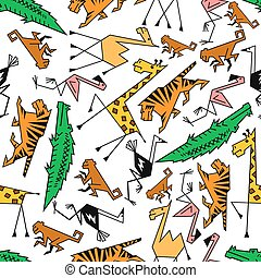 africano, y, selva, caricatura, animales safari
