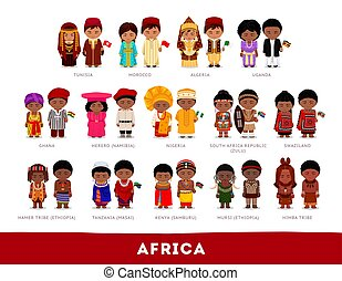 Africans in national clothes.