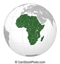 afrika, kaart, op, wereldbol