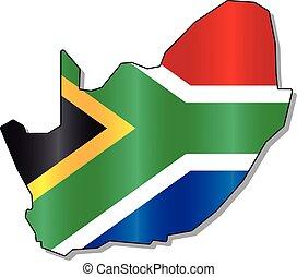afrika, kaart, zuiden, vlag