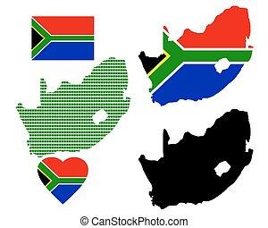 afrika, karta, syd