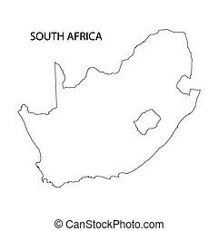 afrika, karta, syd, skissera
