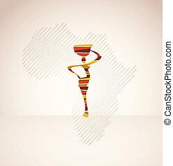 afrika, kvinna, på, den, bakgrund, med, vektor, karta