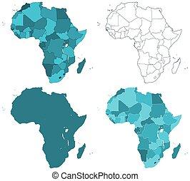afrika, landkaarten