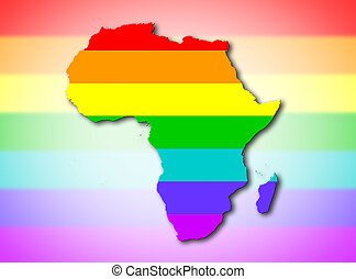 afrika, -, regenboog, markeer model
