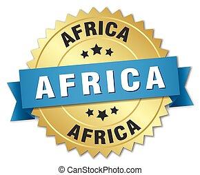 afrika, ronde, gouden, badge, met, blauw lint