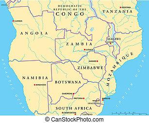 afrika, south-central, politisk, karta