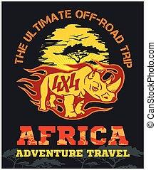 afrika, utazás, -, emblem., vektor, terep-, extrém