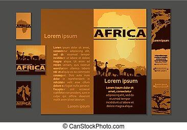 afrika, utazás, tervezés, sablon