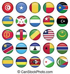 afrika, zászlók, kerek, gombok