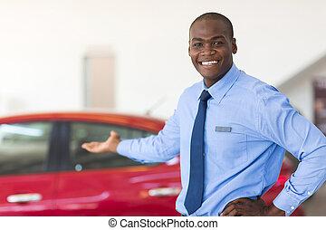 afrikaan, auto vertegenwoordiger, het voorstellen, nieuw,...