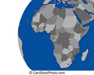 afrikaan, continent, op, politiek, globe