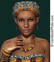 afrikaan, dame, ca, 3d, cg