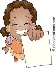 afrikaan, illustratie, test, papier, het tonen, meisje, geitje