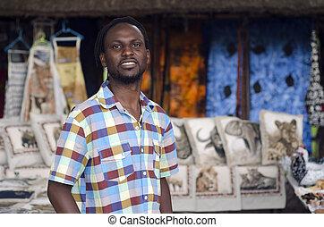 afrikaan, kleine onderneming, curiosum, verkoper, het...