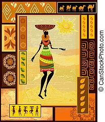 afrikaan, meisje, geklede, in, een, decoratief