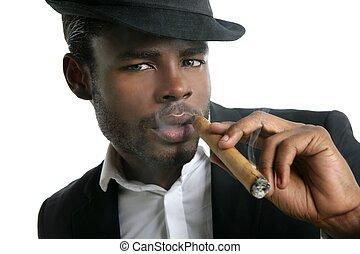afrikaan, sigaar, amerikaan, smoking, verticaal, man