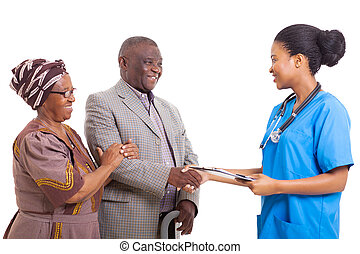 afrikaan, verpleegkundige, hand schud, met, senior, patiënt