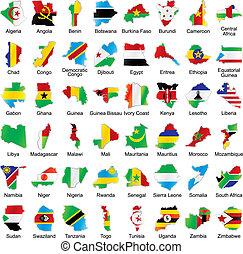 afrikaan, vlaggen, in, kaart, vorm, met, details